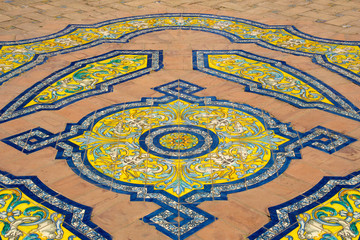 Colorful pattern tiled floor
