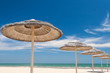 canvas print picture - Umbrellas on the beach