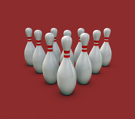 Bowling Pins On Red Background