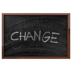 Change Written On Isolated Blackboard