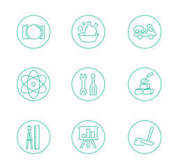 Symbols of office working at the computer  light background with