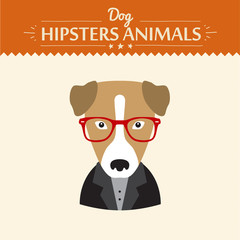Hipster character elements for nerd puppy dog with customizable