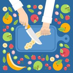 Chef cortando frutas para ensalada