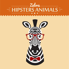 illustration of zebra gentleman with flowers, greeting card
