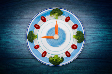 Food clock with vegetables, Healthy food concept, copy space