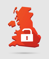 UK map icon with a lock