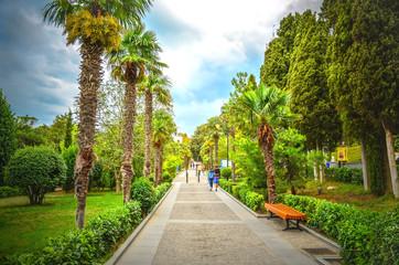 People strolling in a beautiful park. Yalta, Crimea