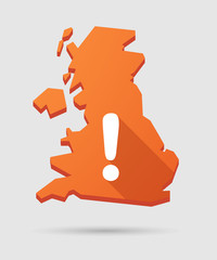 UK map icon with an exclamation sign