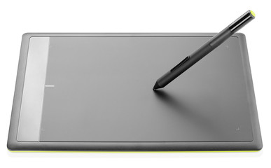 Modern graphic tablet isolated on white background
