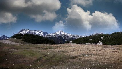 panoramic shot of Slovenian mountains on the cloudy day