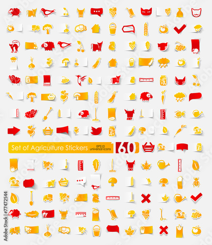 Set of agriculture stickers - 77472544
