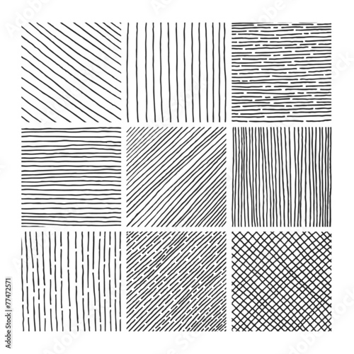 Vector collection ink hand drawn hatch texture - 77472571