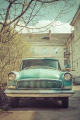 Spring fever of retro classic car color toned