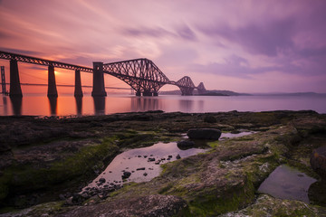 Firth of Forth Rail Bridge at sunset