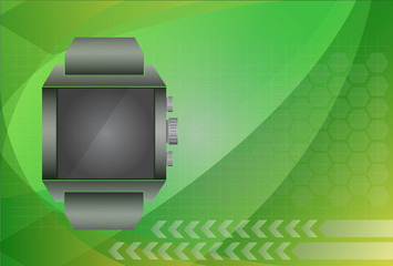 smart watch and digital technology background, vector illustrati