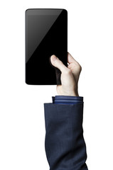 Hand holding a digital tablet with a black screen