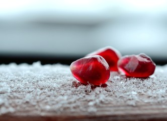 Grains of pomegranate fruit.