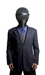 Businessman with a microphone as a head