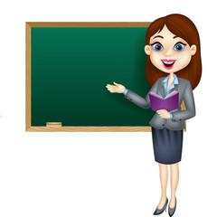 Cartoon female teacher standing next to a blackboard