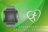 Fitness tracker application for smart watch concept with heart m poster
