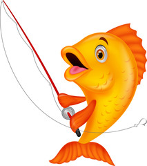 Cute fish holding fishing rod
