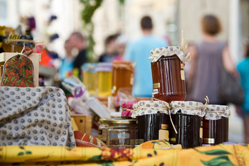 Homemade honey pots on a provencal market, France