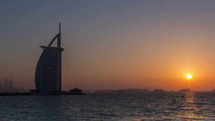 time lapse photography, Burj Al Arab at sunset
