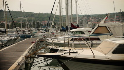 Boats mooring in harbor