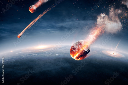 Meteorites on their way to earth - 77476935