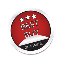 Best buy guarantee vector icon with stars on a white background