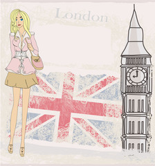 Woman shopping in London