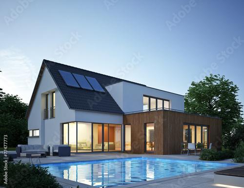 Haus Anbau mit Pool Abend - 77477773