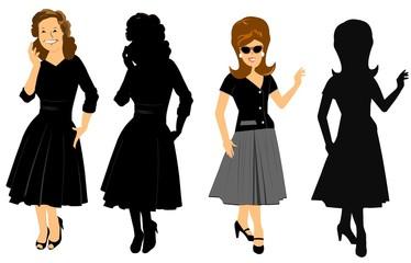 lady in black in 2 styles