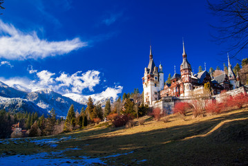Peles Castle Sinaia in the Carpathians Mountains, Romania.