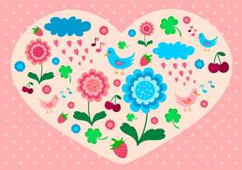 Valentine with flowers, birds and berries.