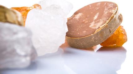 alm sugar, coconut sugar, sugar cane rock and white rock sugar