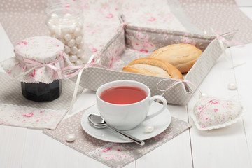 Shabby Chic. Handmade Heart, Napkins, Table Cloth, Tray. Cup Of