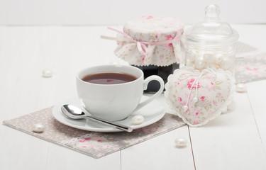 Shabby Chic. Handmade Heart, Napkins. Cup Of Tea. Homemade Jam