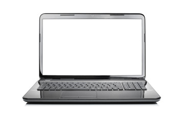 Modern black glossy laptop isolated on white background
