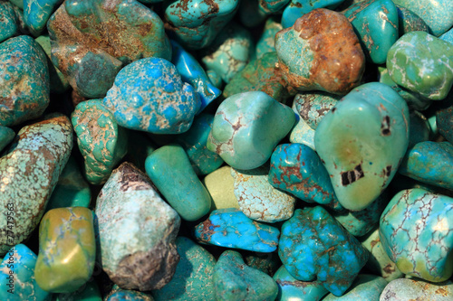 Deurstickers Edelsteen turqoise mineral background