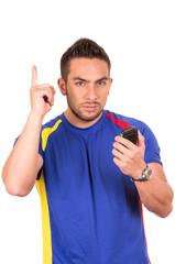 soccer fan wearing blue t-shirt
