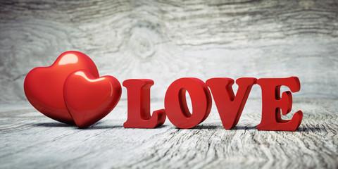 2 Herzen mit Love-Letters