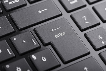 "Computer keyboard with ""enter"" button focused"
