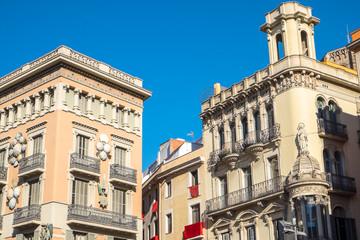 Buildings alongside La Rambla in Barcelona
