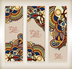 set of decorative flower template banner
