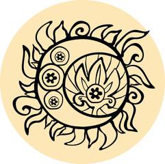 Ethnic sun totem hand drawn sketch. Vector illustration