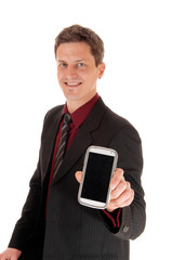 Man showing his cell phone.