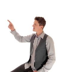 Man pointing with finger.