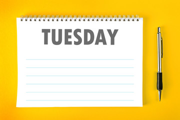 Tuesday Calendar Schedule Blank Page