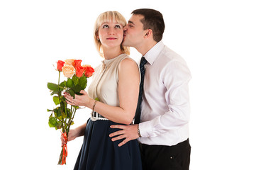 husband gives wife flowers